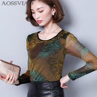 Wholesale korean womens fashion blouses - AOSSVIAO 2017 Autumn Floral Shirt Print Female Slim Women Shirts Full Sleeve Womens Tops O-Neck Blouse Korean Fashion Clothing