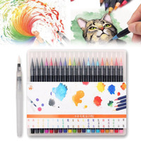 Wholesale Design Coloring Books - 20 Colors Watercolor Painting Pen Soft Brushes Mayitr Artist Sketch Drawing Marker Pens Set For Art Design Coloring Books