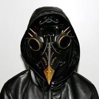 masque d'oiseaux achat en gros de-Steampunk Gothique Rétro Peste Bec Peste Docteur Oiseau Masque Halloween Costume De Noël Accessoires Véritable PU Livraison Gratuite G218S