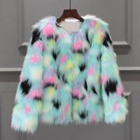degrade kış ceket toptan satış-Kürklü Kürk Kadın Kabarık Sıcak Uzun Kollu Degrade Renk Giyim Sonbahar Kış Ceket Ceket Tüylü Yakasız Palto