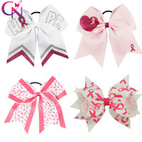 """Wholesale breast holder - 6"""" Handmade Breast Cancer Awareness Printed Hair Bows with Ponytail Holder Girls Headwear Cheer bow Hair Accessories"""