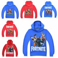 Wholesale kids character sweatshirts - 10 Colors Kids Fortnite Casual Sweatshirt Baby Cotton Spring Fall Hoodies Pullover Long Sleeve Blouse Fortnite Sweatshirts CCA9897 30pcs
