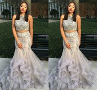 Wholesale heavy beaded evening resale online - Silver Two Piece Mermaid Prom Dresses Heavy Beading Crystal Tulle Satin Plus Size Party Dresses Sparkle Evening Dresses Sweep Train