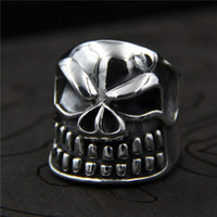Wholesale Skull Rings 925 Silver - 925 sterling silver rings vintage Original designer ring mens Thai silver personality domineering skull ring hip hop jewelry adjustable ring