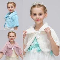 çocuklar ceketi ceketi toptan satış-Allık Kızlar Kış Coat Prenses Yarım Kol ilmek Kızlar Sahte kürk Cape Cloak Düğün Şal Cape İçin Kızlar Tippet Çocuk Ceket Doğum