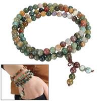natursteinschmuck indien großhandel-Modeschmuck Natürliche 6mm Stein Buddhistischen Indien Stil 108 Gebet Stein Perlen Kürbis Mala Halskette Armband Für Frauen Männer Geschenk