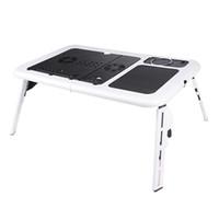 cojín de enfriamiento de la bola al por mayor-Plegable portátil portátil escritorio mesa soporte cama bandeja ventiladores dobles