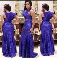 Wholesale formal pink shirt design for sale - Fashion Design Royal Blue Mermaid Evening Dresses One Short Sleeve Sequined Arabic African Formal Evening Gowns Long Party Dresses
