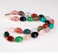 женские модели ожерелья оптовых-Druzy Natural Crystal Semi-precious Stone Necklace Female Models Colorful Wild Necklace Jewelry Melon Shape  String