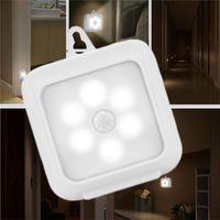 pil led banyo lambası toptan satış-Hareket Sensörü LED Gece Işıkları Akülü Kapalı Adım Aydınlatma Güvenlik Işık Ev Merdiven Duvar Dolabı Banyo Koridor için