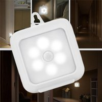 Wholesale motion sensor battery powered - Motion Sensor LED Night Lights Battery Powered Indoor Step Lighting Safety Light for Home Stair Wall Cabinet Bathroom Hallway