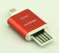 mikro sdxc okuyucu toptan satış-Alüminyum Mikro USB SD SDXC TF OTG Kart Okuyucu Adaptörü Samsung S3 S4 Android Cep Telefonu PC Tabletler Çift Kullanım için
