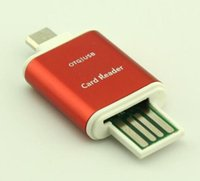Wholesale mobile sd reader for sale - Group buy Aluminum Micro USB SD SDXC TF OTG Card Reader Adapter for Samsung S3 S4 Android Mobile Phone PC Tablets Dual Use