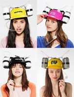 Wholesale helmets cosplay for sale - Group buy Lazy Helmet Beverage Holder Cap Creative Plastic Drinking Hat Cosplay Prop Children Gifts Multi Color ch C R