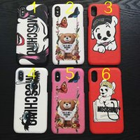 Wholesale red lips phone - Luxury brand phone case for iPhone 6 6S 7 8 Plus X Hard back cover Phone case Dog Lips eye