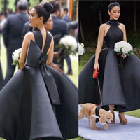 Wholesale Cheap Unique Satin Gowns - Unique Design Black Bridesmaid Dresses 2018 High Neck Big Bow Puffy Ankle Length Satin Wedding Guest Gowns Maid Of Honor Dress Cheap Custom