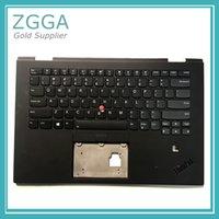 teclado genuino al por mayor-Genuino NUEVO para Lenovo ThinkPad X1 Yoga 2nd 20JD 20JE 20JF 20JG Portátil Reposamanos Funda para teclado en inglés de EE.UU. teclado retroiluminado 01HY810