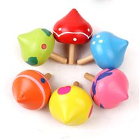 Wholesale Wood Spinning Toy Tops - Wooden Spinning Top Toys Multi Colour Cartoon Rotate Gyroscope Children Spinner Toy Gift Hot Sale 0 75yw C R
