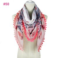 Wholesale White Cotton Square Scarf - Wholesale fashion spring flowers printed colorful tassels pom pom scarves SQUARE