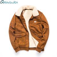 Wholesale down vest fur collar - Grandwish Thicken Winter Fleece Jacket Coat Men Turn-down Collar Velvet Jacket Men Fur Collar Men's Warm Coat Parkas ,DA436