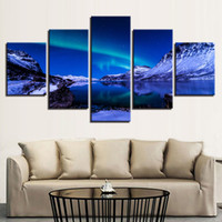 Wholesale mirrored panels for wall - Decor Wall Art Framework Canvas Posters Home Pieces Aurora Snow Capped Mountains Paintings HD Prints Pictures For Living Room
