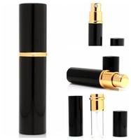 siyah cam parfüm şişeleri toptan satış-5 ml Alüminyum Cam Şişe Parfüm Şişeleri Doldurulabilir Mini Koku-şişe Parfüm Sprey Atomizer Siyah Sprey şişe KKA3830