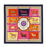 projetos do palhaço venda por atacado-Paris mulheres sarja dez cavalo impressão cachecol projeto animal de luxo vermelho foulard echarpe femme senhoras coringa lenços quadrados de seda 100 * 100