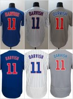 Wholesale Pinstripe Shirts - 2018 Mens Women Youth Chicago 11 Yu Darvish Baseball Jerseys Cheap Stitched Blue Gray White Pinstripe Cool Base Flex Base Shirts Mix Order