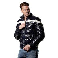легкая кожаная куртка xl оптовых-Классический стиль мужской хлопок куртка 2018 зима новая полоса мозаика талии пальто воротник мода кожаная куртка молния свет утолщение
