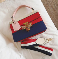 Wholesale blue baubles - hot European and American fashion color small square bauble summer new handbag female inserts the bee lock shoulder bag