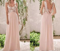Elegant New Rose Gold Bridesmaid Dresses A Line Spaghetti Backless Sequins Chiffon Cheap Long Beach Wedding Guest Dress Maid of Honor Gowns