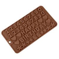 molde de letras del alfabeto al por mayor-Números de Moldes de Silicona de Alfabeto Digital y Letras Moldes de Chocolate Moldes para Hornear Torta