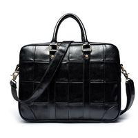 siyah deri stili toptan satış-Yeni Moda Vintage Stil Katı Siyah Iş Messenger Çanta PC Handge Erkekler için Zarif PU Deri Omuz Çantası