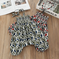 Wholesale cm pants - 2 colors girl clothing Kids romper full floral print suspender romper high quality cotton girl romper pants free shipping