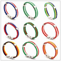 Wholesale charm strings - Woven Bracelets for 2018 FIFA World Cup Unisex PU Leather Bracelet String Kids Adult Jewelry CCA9499 150pcs