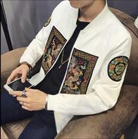 abrigos chinos ajustados al por mayor-Para hombre dragón chino patrón de bordado chaqueta de bombardero de moda Slim Fit manga larga abrigo para hombre Casual Windbreaker Tops más el tamaño