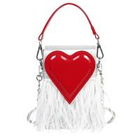 ingrosso tote della borsa della piuma-Borsa a tracolla Tote Borsa a tracolla a forma di cuore con mini borsa a tracolla a forma di cuore rosso femminile di lusso per borse da donna