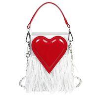 перо кошелек тотализатор оптовых- Feather Red Heart Design Box Style Pu Ladies Chain Purse Mini Shoulder Bag Tote Crossbody Bag For Women Designer Bags