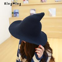 072609101fc Along the sheep wool cap knitting fisherman hat qiu dong Female fashion  witch pointed basin bucket hat accessories Y18102210