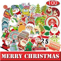 dekor yılbaşı çıkartması toptan satış-Noel Tema PVC Bagaj sticker 100 adet farklı baskılar araba çıkartmaları motosiklet gövde grafiti su geçirmez sticker Cadılar Bayramı dekorları