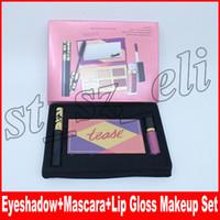 conjunto de ojos de labios al por mayor-Nuevo set de maquillaje Lip Gloss + Eye Mascara + Tease paleta de sombra de ojos 3 en 1 kit de cosméticos
