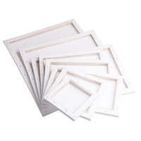 modern yağlı boya tablaları toptan satış-Astar Yağ Akrilik Boya 20x20cm Beyaz Boş Kare Sanatçı Tuval Ahşap Kurulu Çerçeve