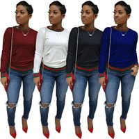 lange lässige hemden für frauen großhandel-Casual Langarm T-Shirts Womens Frühling Herbst Rundhalsausschnitt Gestreiftes Design T-shirts Frau Mode Tops Kleidung