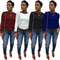 moda para mujer camisetas largas al por mayor-Casual Manga larga Camisetas Mujer Primavera Otoño Cuello redondo Diseño de rayas Camisetas Mujer Moda Tops Ropa