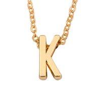 18k vergoldeter schmuck einzelhandel großhandel-MyShape Wholesale, Retail Mode Frauen Schmuck Gold Überzogene Farbe Erste Folie Alphabet Buchstaben Anhänger Personalisierte Name Halskette