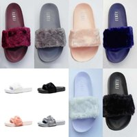 Wholesale latex girls - High Quality Leadcat Fenty Rihanna Faux Fur Slippers Women Indoor Sandals Girls Fashion Scuffs Pink Black White Grey Slides With Box