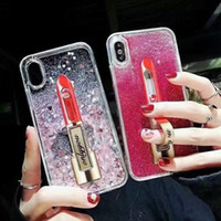 Wholesale lipstick iphone case - Sexy Madam Glitter Quicksand lipstick Phone Case For iPhone 6 6S Plus 7 8 Plus X Liquid Paillette Quicksand Stand Back Case