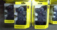 kablolu oyun denetleyicisi toptan satış-Kablolu Çift titreşim Şok Denetleyici Gamepad Playstation 2 PS2 Konsolu Video Oyunları için Uyumlu Siyah Perakende Ambalaj