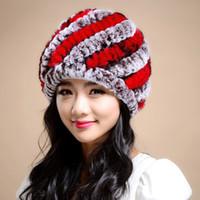 ingrosso la migliore pelliccia del coniglio-Donna100% Genuine Rex Rabbit Rabbit Hat New Casual Style Thread copricapo Inverno Best Fashion Pellicce ragazze True Fur Hats