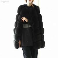 chaleco de piel de punto negro al por mayor-Venta al por mayor-2018 blanco / negro de invierno de las mujeres de punto de conejo chaleco de piel de zorro más tamaño real natural de conejo chaquetas de abrigo de piel largo Colete